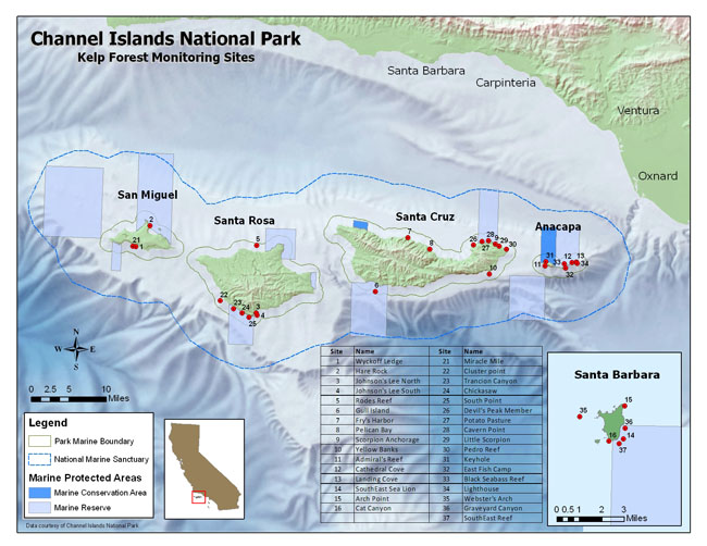 KFM Site Map. Channel Islands National Park.