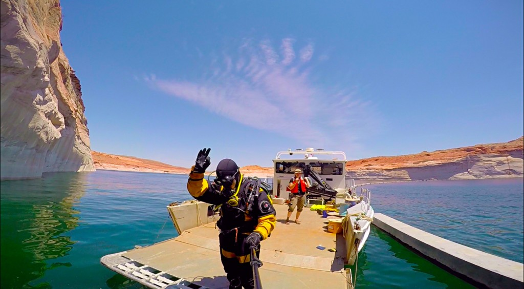 Getting ready to jump in the water for some equipment recovery. Our divesite was just about ¼ mile above the Glen Canyon Dam.