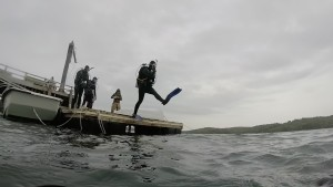Taking a giant stride off the dock into the water for my first dive!