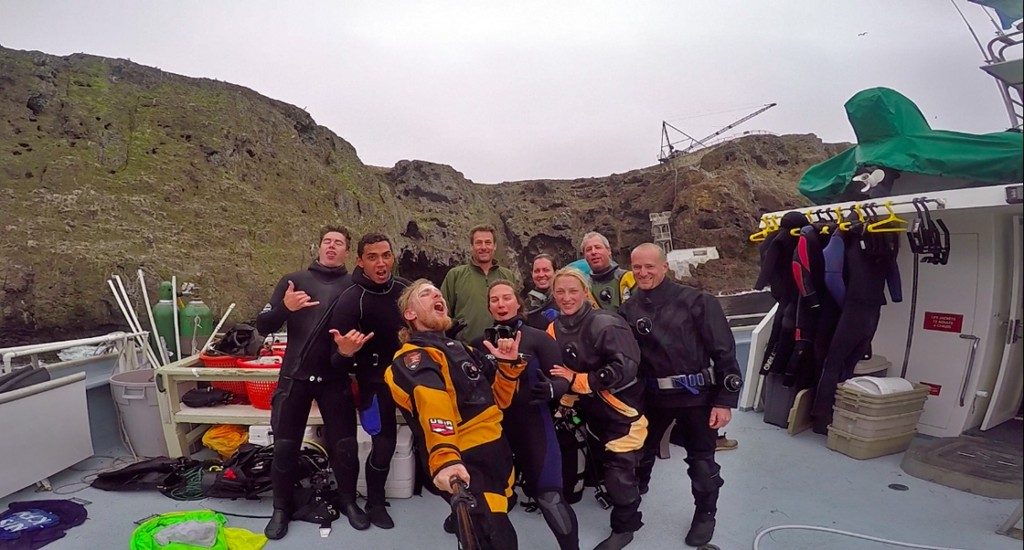The Kelp Forest Monitoring crew. From left to right: Ben Grimes, Michael Civiello, me, Captain Keith, Ashley Kidd, Amanda Bird, Jaime McClain, Dave Kushner and Joshua Sprague.