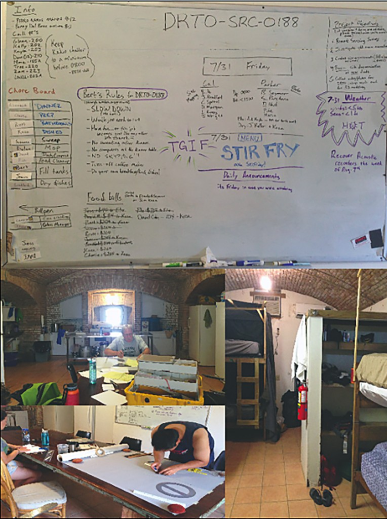 A little insight into a day in the life at Crew's Quarter. Clockwise from top: Bert's message board detailing the day's activities, chore schedule and the dinner menu; the bunkroom, with complimentary plastic canopies to keep ceiling debris from falling on you; Bert at the all purpose dining table/work bench mapping a site; Koza pauses briefly after working on a detailed site map.