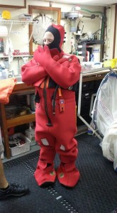 Immersion suit safety drill