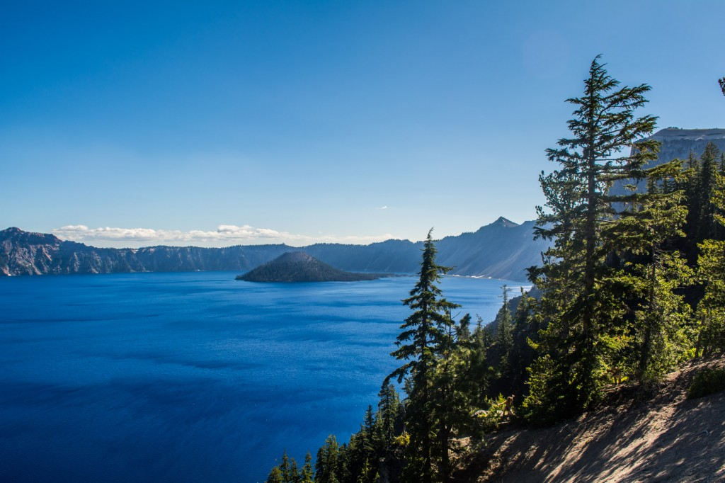 A view of Wizard Island and Crater Lake from the Rim Drive.