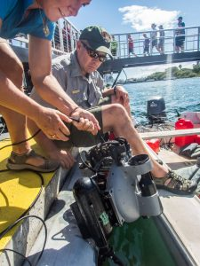 Dave Conlin and Sam with Deep Trekker launch the ROV.