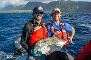 Kosta and Alex pose with an 89cm ulua.