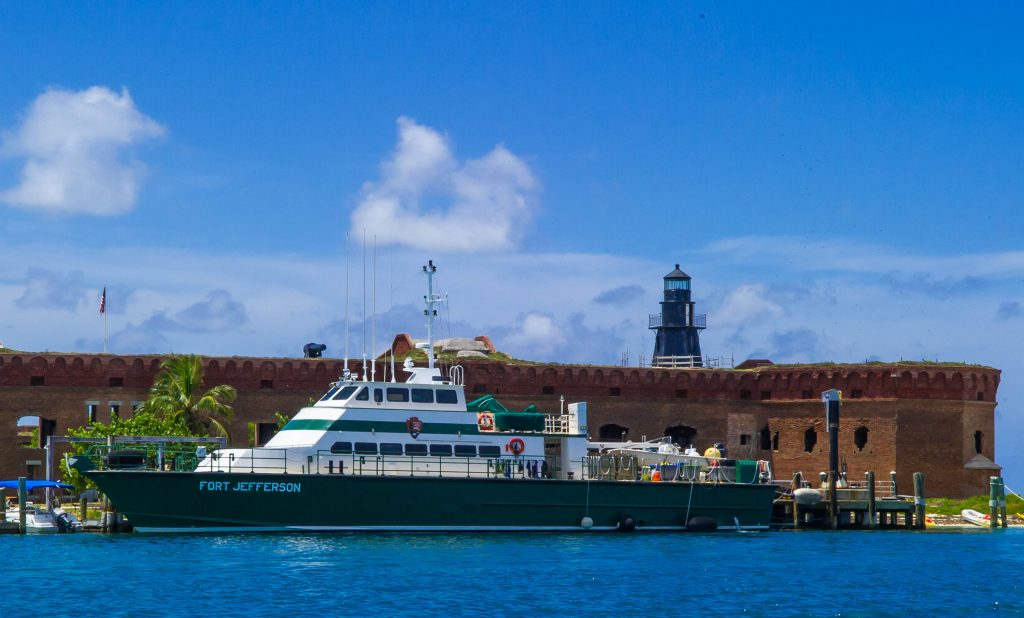 The M/V Fort Jefferson (Fort Jeff) in front of the Fort Jefferson. This is a toughie!